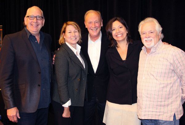 (L-R) John Esposito, incoming Chairman of the CMA Board and President and CEO of Warner Music Nashville; Sarah Trahern, CMA Chief Executive Officer; Frank Bumstead, outgoing CMA Board Chairman and Chairman of Flood, Bumstead, McCready & McCarthy, Inc.; Sally Williams, incoming CMA Board President and General Manager of Ryman Auditorium; and Bill Simmons, incoming CMA Board President-Elect and Vice President at The Fitzgerald Hartley Company. (Not pictured: Jessie Schmidt, returning CMA Board Secretary/Treasurer and President of Schmidt Relations.) (Photo: Christian Bottorff)